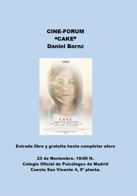 "CINE FORUM ""CAKE"": UNA MIRADA CINEMATOGRÁFICA AL DOLOR CRÓNICO"