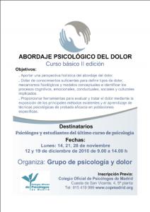II Edición del curso: Abordaje psicológico del dolor.